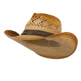 Women's Open Weave Design Raffia Cowboy Hat
