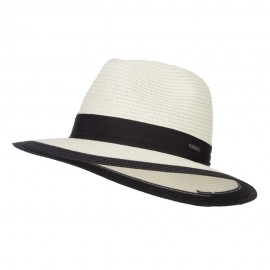 Wide Brim Panama Hat with Band