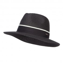 Wide Brim Panama Hat with Band - Black