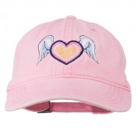 Heart Angel Wings Embroidered Washed Cap - Pink