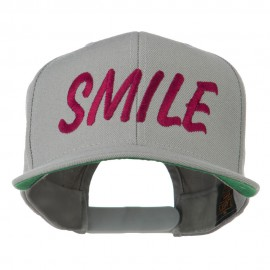 Wording of Smile Embroidered Flat Bill Cap