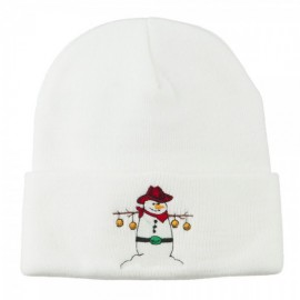 Western Snowman Christmas Embroidered Beanie
