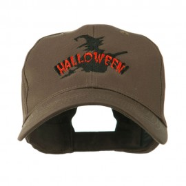 Halloween Witch in Flight Embroidered Cap - Brown