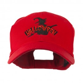 Halloween Witch in Flight Embroidered Cap - Red