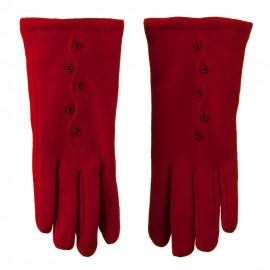 Women's Cashmere Vertical Curve Line Beaded Flowers Glove