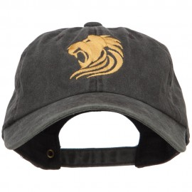 Gold Lion Embroidered Washed Cotton Cap