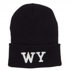 WY Wyoming State Embroidered Long Beanie