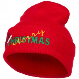 Merry Christmas Santa Hat Embroidered Long Beanie