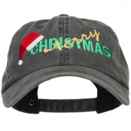 Merry Christmas Santa Hat Embroidered Unstructured Cap - Black