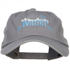 Winter with Snowflakes Embroidered Unstructured Washed Cap