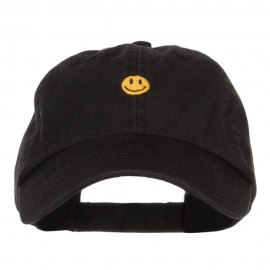 Mini Smiley Face Embroidered Pet Spun Cap - Black