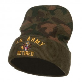 US Army Retired Military Embroidered Camo Beanie
