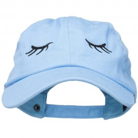 Eyelashes Embroidered Unstructured Washed Cap