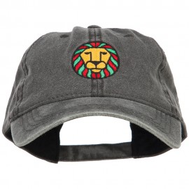 Rasta Lion Embroidered Washed Cap