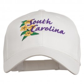 USA State South Carolina Flowers Embroidered Cotton Cap