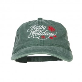 Happy Holidays Snowflakes Embroidered Washed Cap