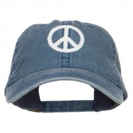 Peace Symbol Embroidered Washed Cap - Navy