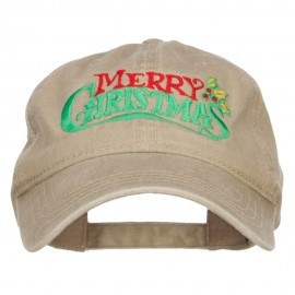 Mistletoe Merry Christmas Embroidered Washed Cap