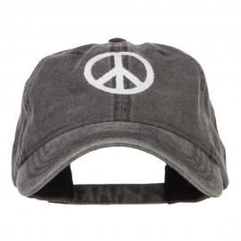 Peace Symbol Embroidered Washed Cap - Black