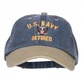 US Navy Retired Military Embroidered Two Tone Cap - Navy Khaki