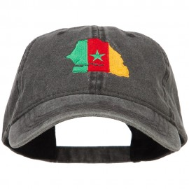 Senegal Map Flag Embroidered Washed Cap