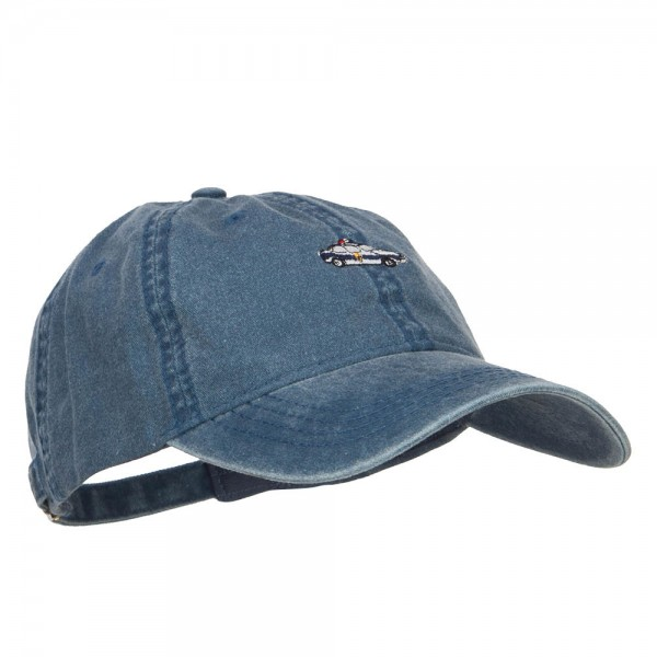 Embroidered Cap Navy Mini Police Car Washed Cap E4hats