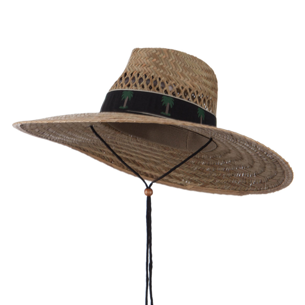 Designed Band Wide Brim Straw Hat - Palm Black - Hats and Caps Online Shop - Hip Head Gear