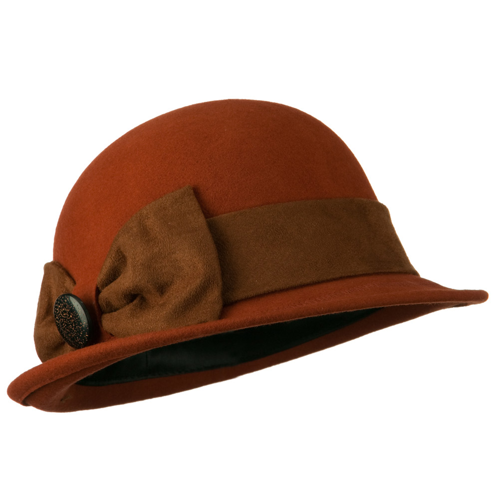 Dressy Woman's Bowler Hat with Button Accent - Apricot - Hats and Caps Online Shop - Hip Head Gear