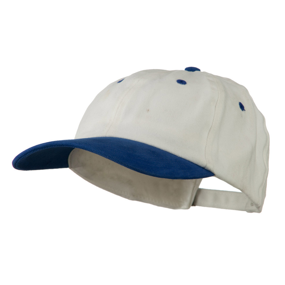 Deluxe Brushed Cotton Two Tone Cap - White Royal - Hats and Caps Online Shop - Hip Head Gear
