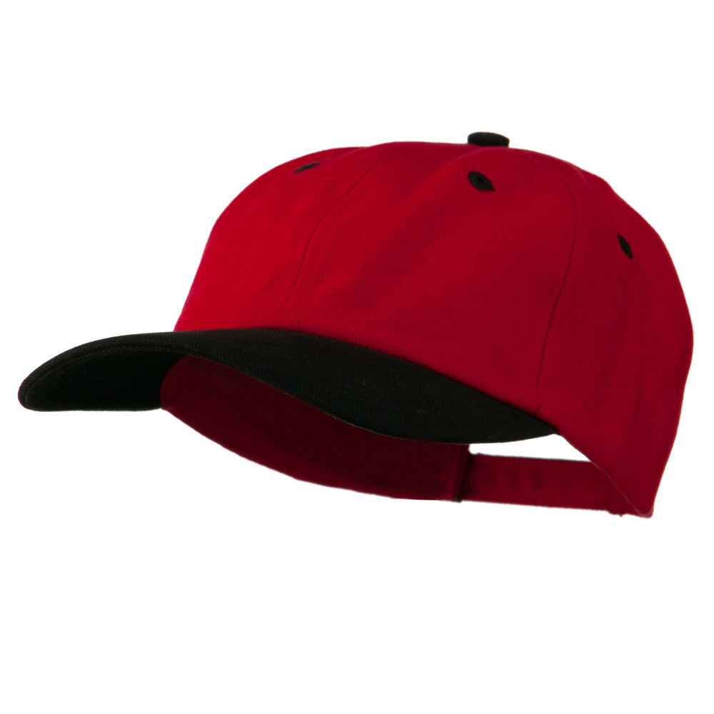 Deluxe Brushed Cotton Two Tone Cap - Red Black - Hats and Caps Online Shop - Hip Head Gear