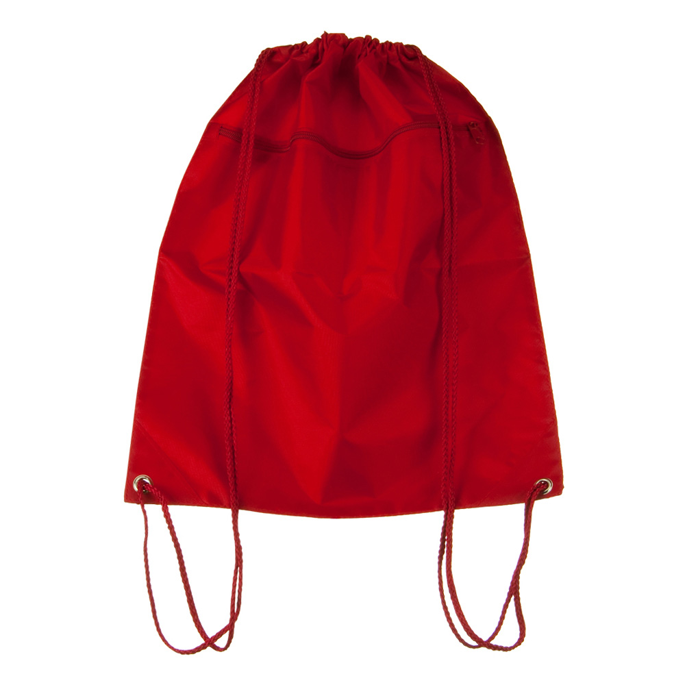 Zippered Drawstring Back Pack - Red