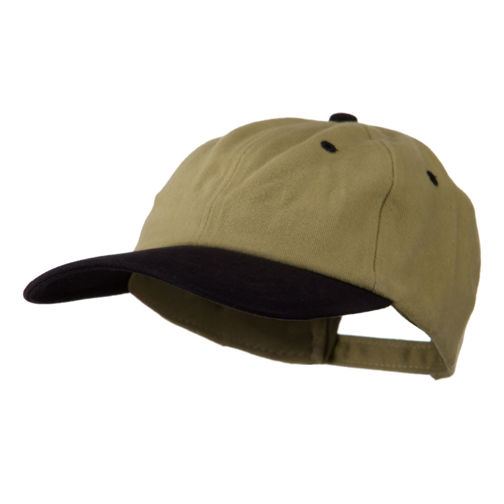 Deluxe Brushed Cotton Two Tone Cap - Khaki Black - Hats and Caps Online Shop - Hip Head Gear