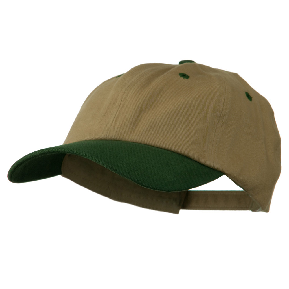 Deluxe Brushed Cotton Two Tone Cap - Khaki Forest - Hats and Caps Online Shop - Hip Head Gear