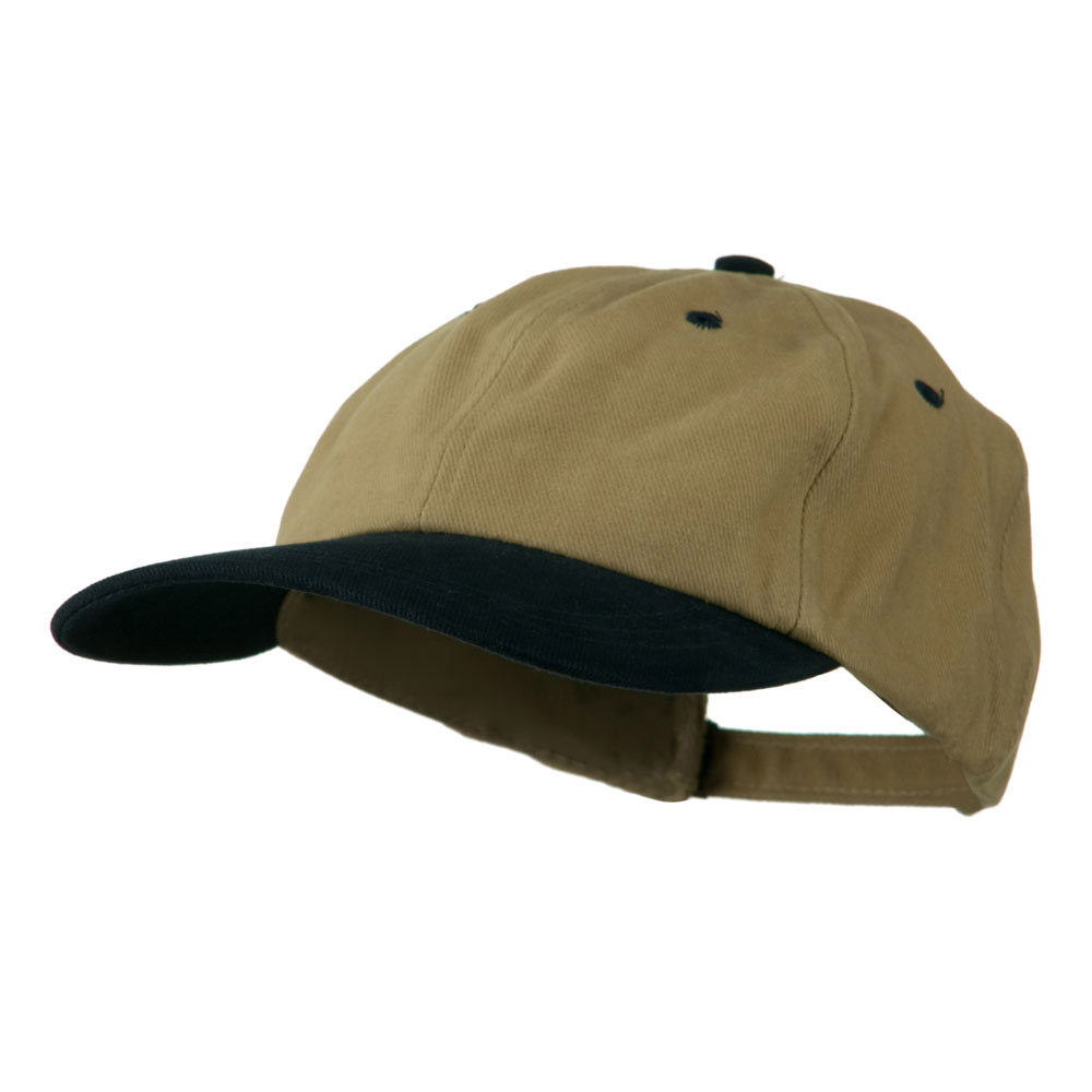 Deluxe Brushed Cotton Two Tone Cap - Khaki Navy - Hats and Caps Online Shop - Hip Head Gear