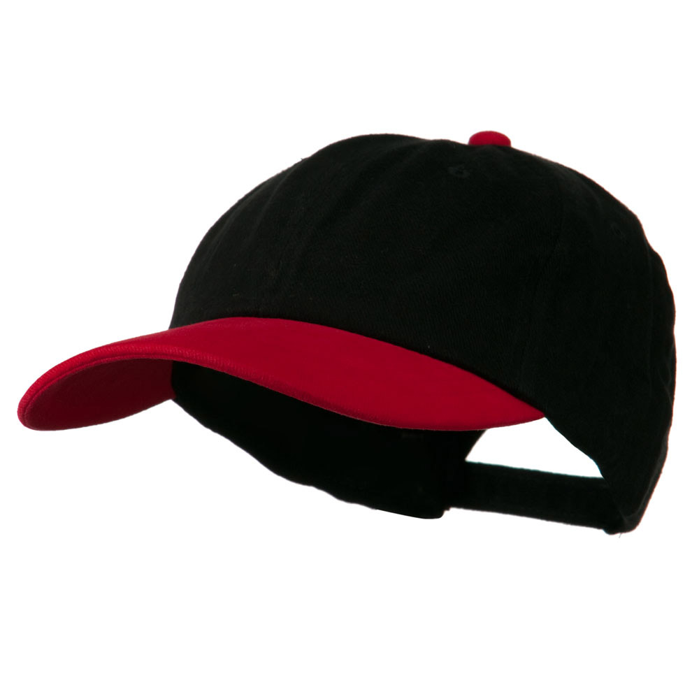 Deluxe Brushed Cotton Two Tone Cap - Black Red - Hats and Caps Online Shop - Hip Head Gear