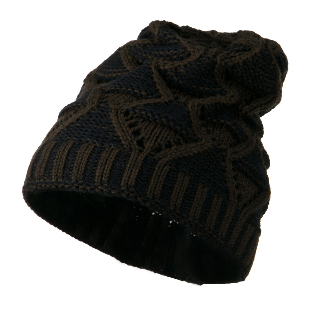 Unisex Reversible Diamond Design Beanie - Brown Navy - Hats and Caps Online Shop - Hip Head Gear