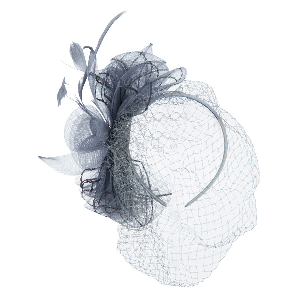 Rhinestone and Bow Detail Headband Fascinator - Grey - Hats and Caps Online Shop - Hip Head Gear