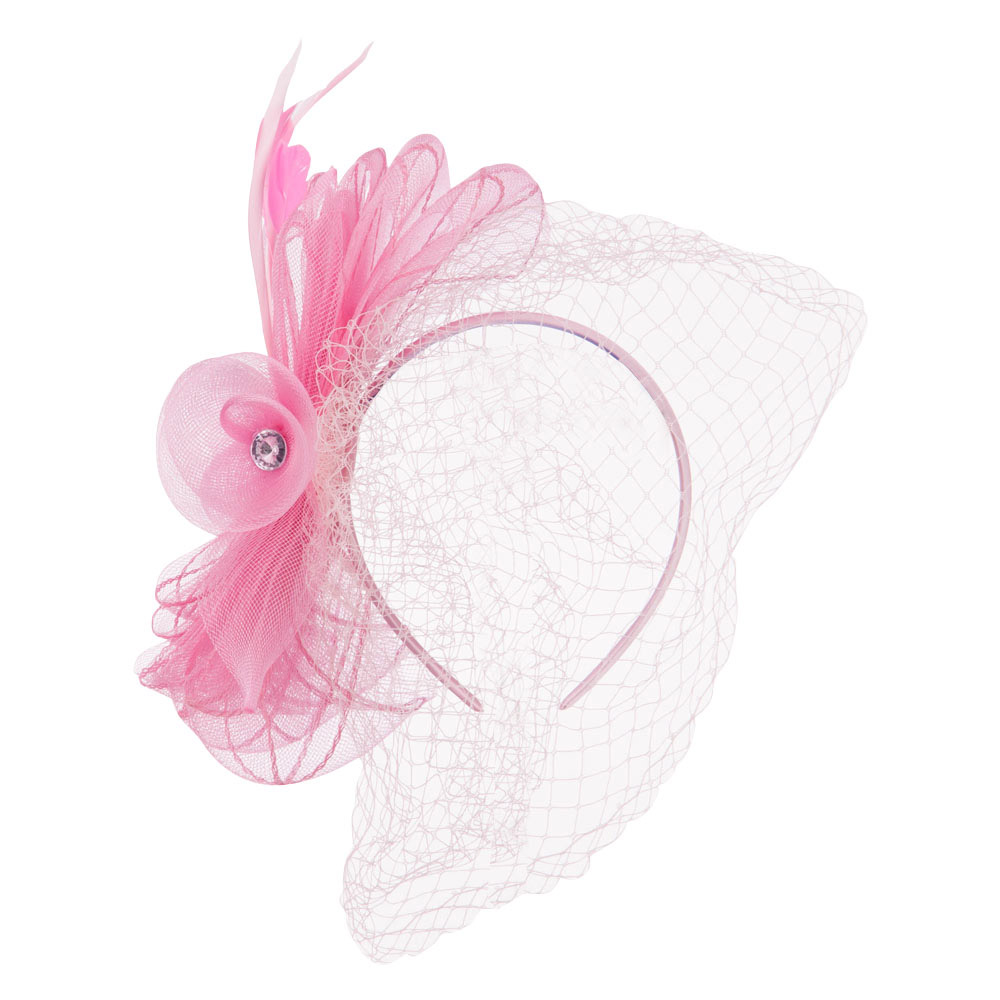 Rhinestone and Bow Detail Headband Fascinator - Pink - Hats and Caps Online Shop - Hip Head Gear