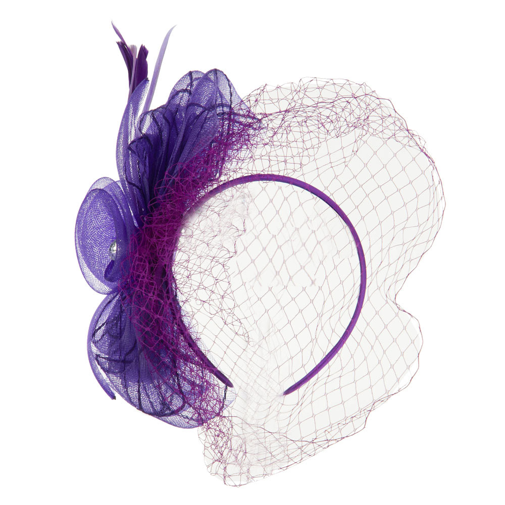 Rhinestone and Bow Detail Headband Fascinator - Purple - Hats and Caps Online Shop - Hip Head Gear