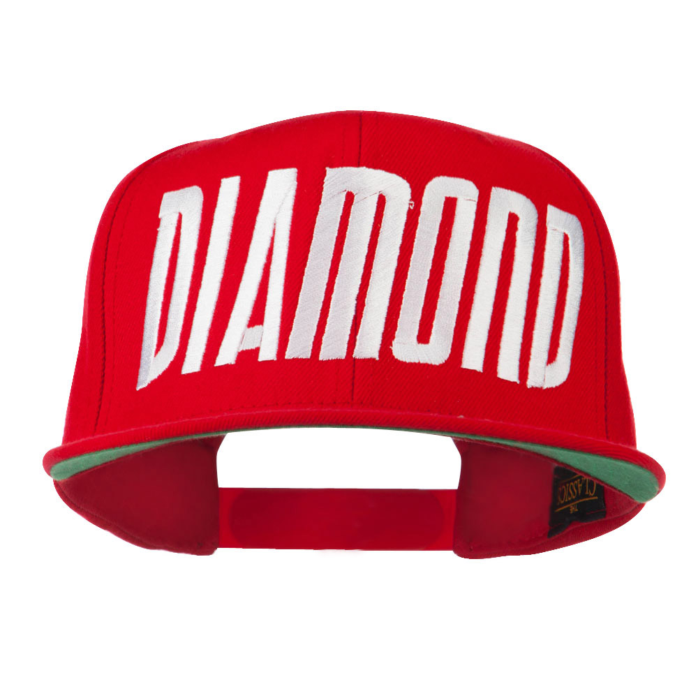 Diamond Embroidered 6 Panel Cap - Red - Hats and Caps Online Shop - Hip Head Gear