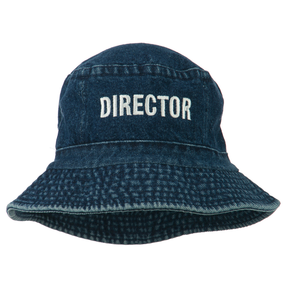 Director Embroidered Pigment Dyed Bucket Hat - Denim