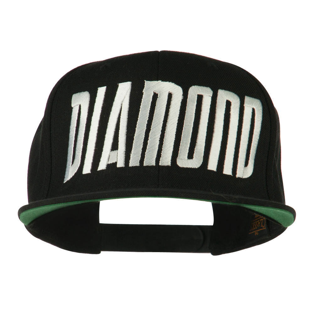 Diamond Embroidered 6 Panel Cap - Black - Hats and Caps Online Shop - Hip Head Gear
