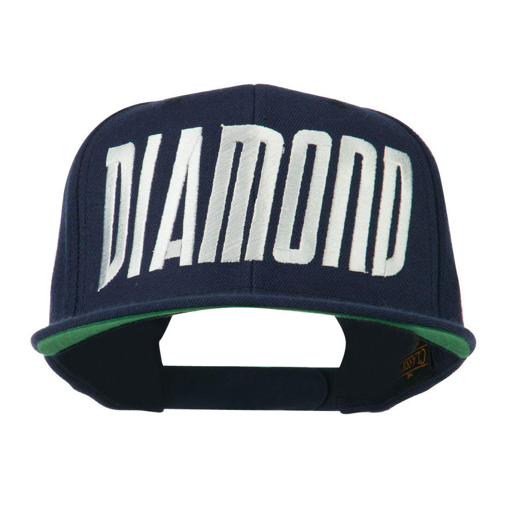 Diamond Embroidered 6 Panel Cap - Navy - Hats and Caps Online Shop - Hip Head Gear