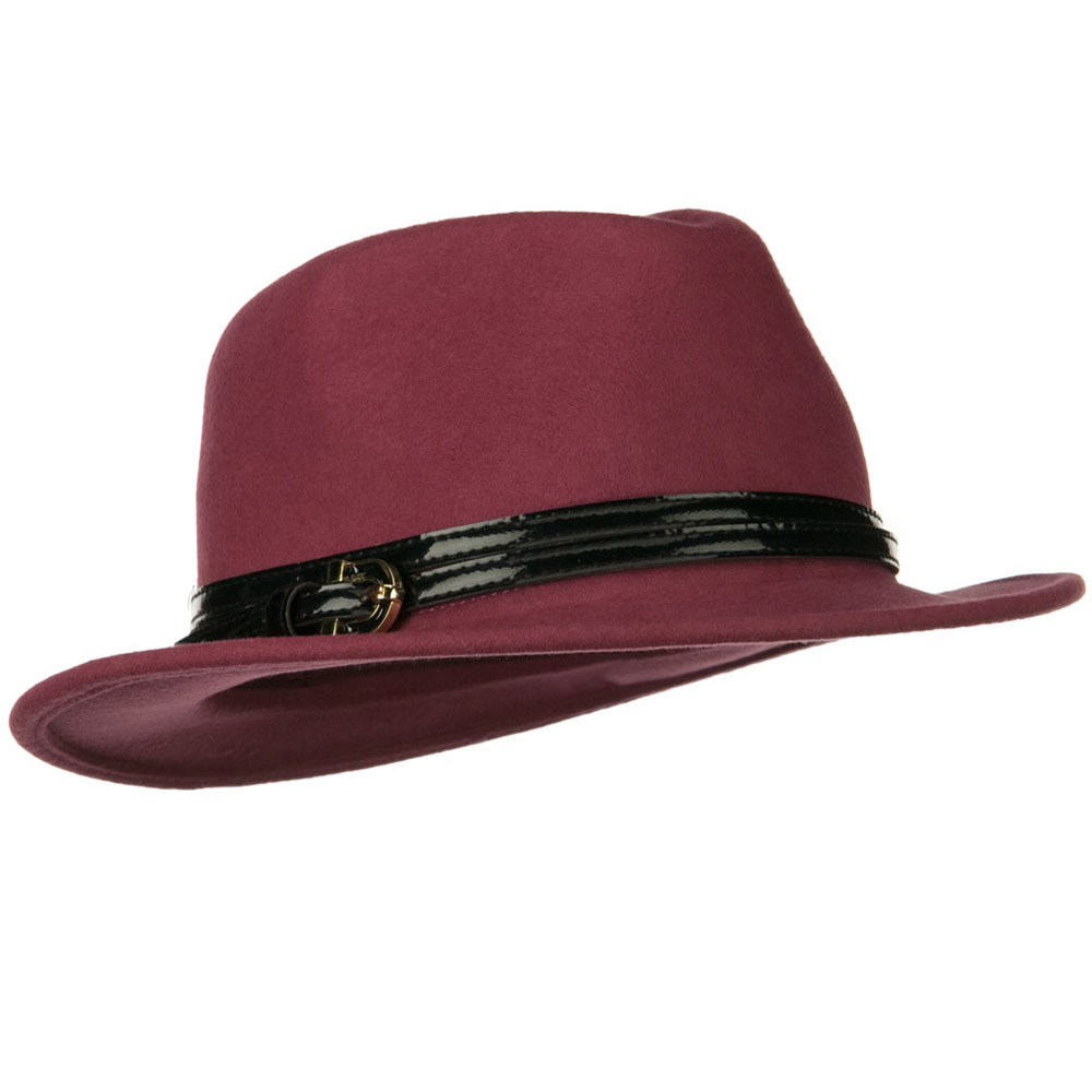 Solid Dressy Fedora with Buckle Band - Mauve