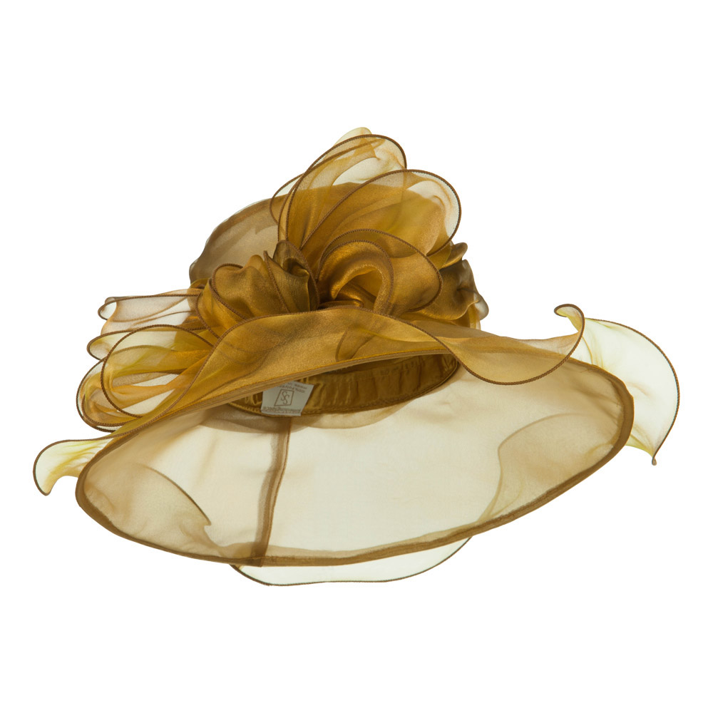 Two Tone Double Glass Organza Hat - Gold - Hats and Caps Online Shop - Hip Head Gear