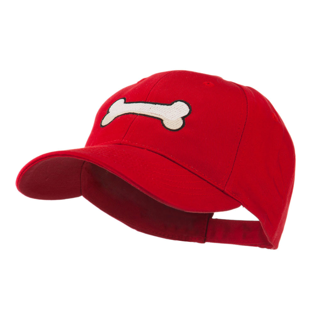 Dog Bone Shape Embroidered Cap - Red - Hats and Caps Online Shop - Hip Head Gear