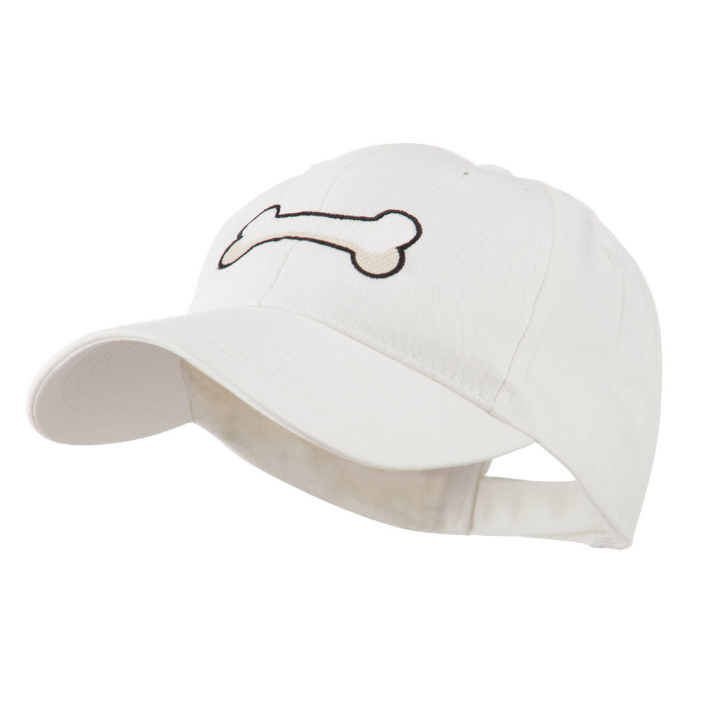 Dog Bone Shape Embroidered Cap - White - Hats and Caps Online Shop - Hip Head Gear