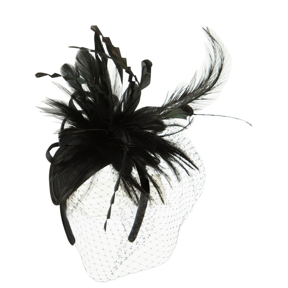 Double Layered Netting Fascinator with Feather - Black - Hats and Caps Online Shop - Hip Head Gear