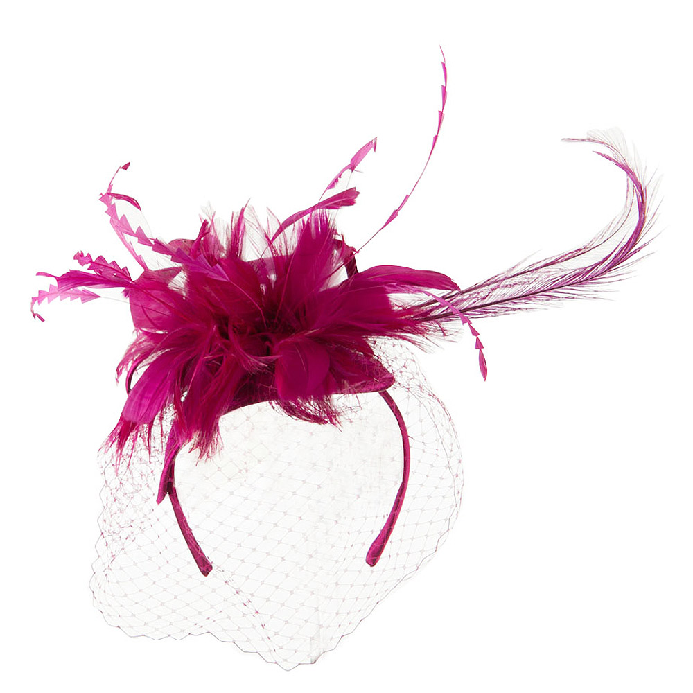 Double Layered Netting Fascinator with Feather - Magenta - Hats and Caps Online Shop - Hip Head Gear