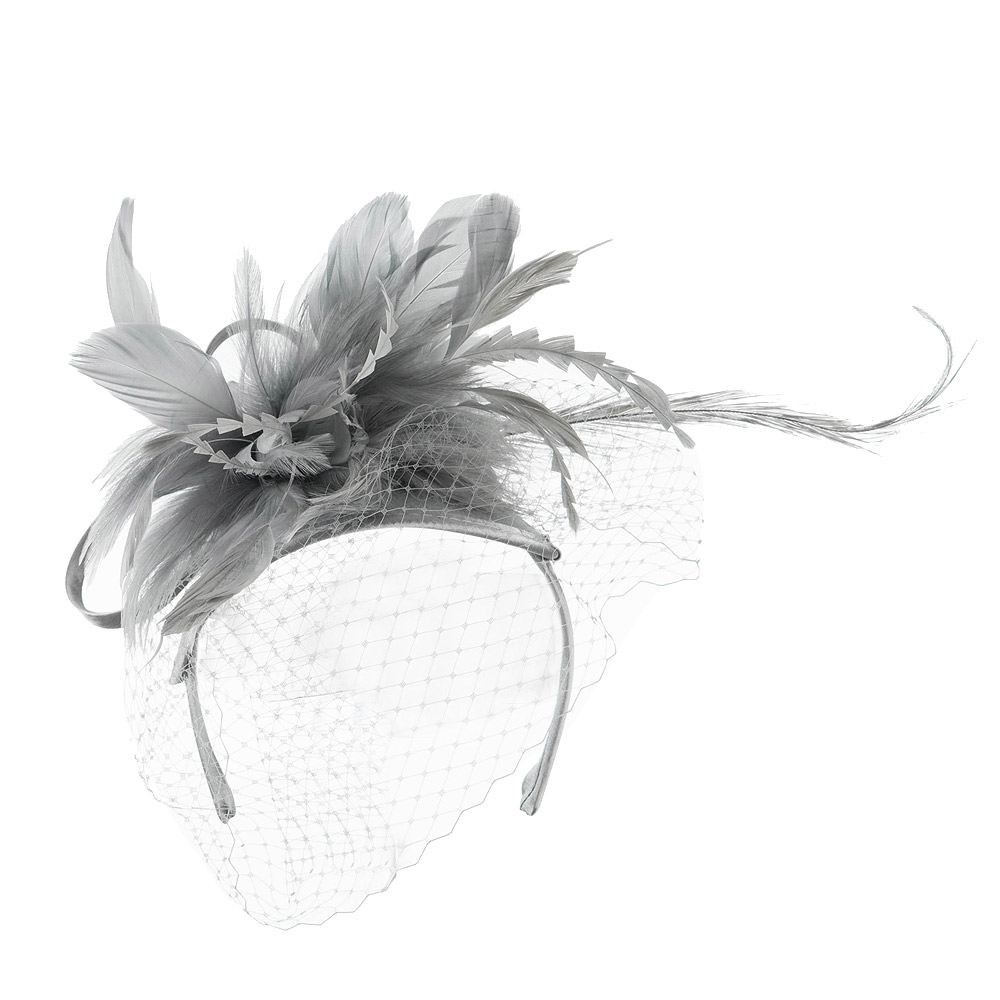 Double Layered Netting Fascinator with Feather - Grey - Hats and Caps Online Shop - Hip Head Gear